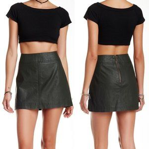 Free People Olive Green Vegan Leather Mini Skirt